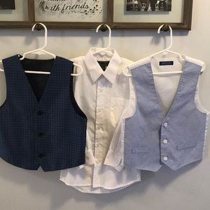 2 suit vests and 1 white dress shirt